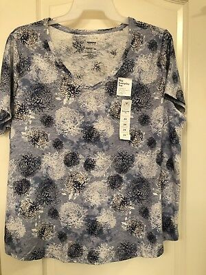 698694da SONOMA EVERYDAY TEE plus size 2X v neck teal & blue - $10.00 | PicClick