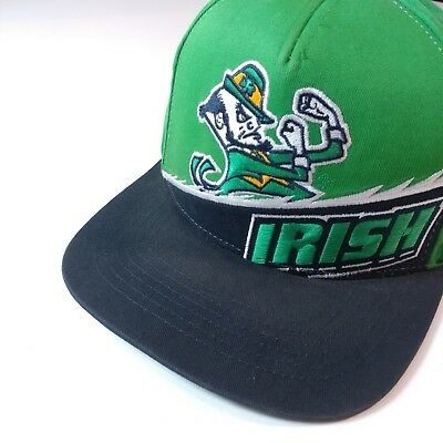 Notre Dame Fighting Irish NCAA Vintage Snapback Cap Hat Navy Green Embroidered