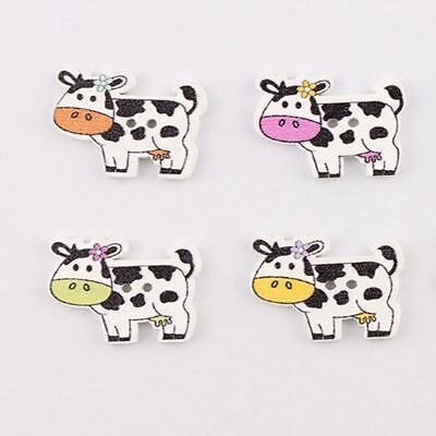 50pcs Scrapbook Craft Cow Pattern Wood Buttons Sewing Craft 2 Holes Button