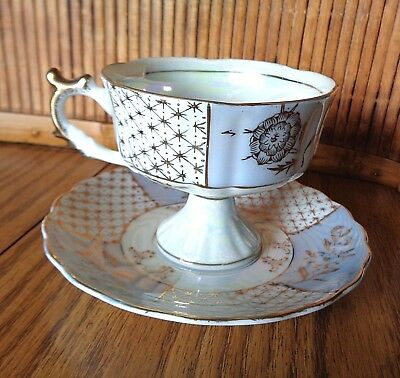 Royal Crown Tea Cup And Saucer / Iridescent White Blue And Gold / 905