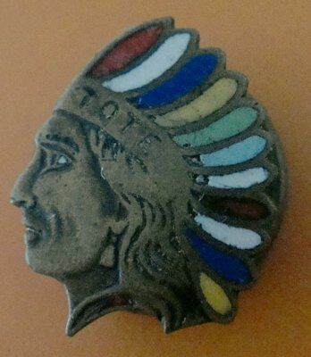 Vintage Colorful American Indian Headdress Pin: TOTE -- ORDER OF RED MEN