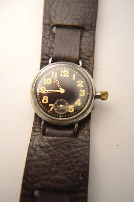 WW1 Borgel Trench Watch, Ltnt Powel, 14th Manchesters, soldiers watch Black dial