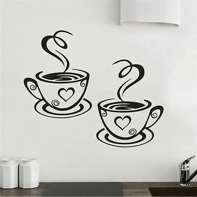 Fashion Coffee Cups Cafe Tea Wall Sticker Art Vinyl Decal for Kitchen Home