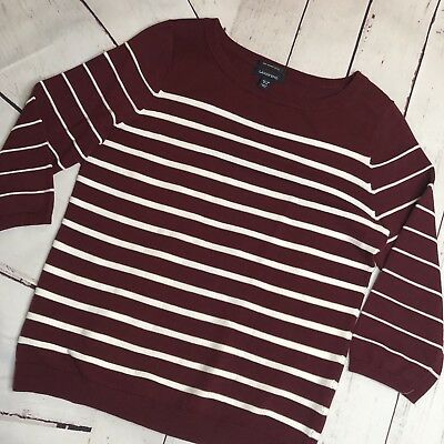 Lands End Womens Supima Cotton Stripe Sweater Brandywine Med