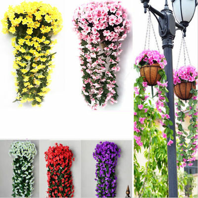 Outdoor Hanging Wall Fake Silk Violet orchid Flowers Rattan Plant Basket Decor