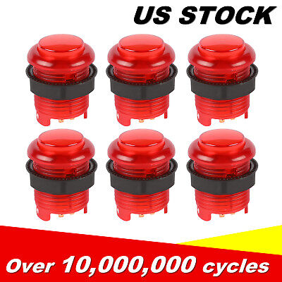 6 Pcs 5V LED Arcade Buttons with Microswitch for MAME, JAMMA 28mm*33mm US STOCK
