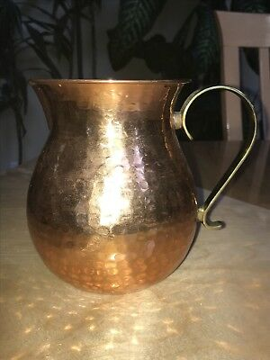 "Small Antique Vintage Hand Hammered Copper Pitcher Vase Brass Handle 6"" Tall"