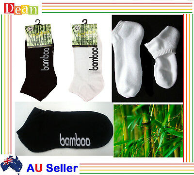 6 / 12  Prs Mens Women Bamboo Sport Socks Ankle Sports Work Cushion Foot Low Cut
