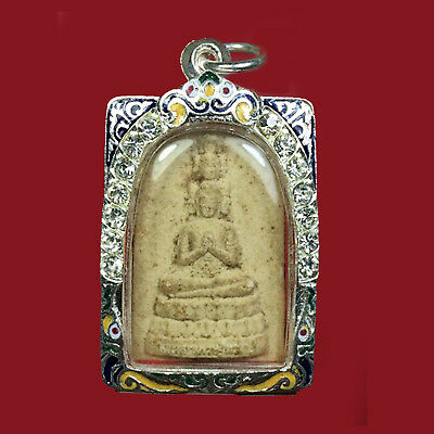 Buddha Amulet Thai Case Silver Plated Paint Strong Behind Naga Phra Prom Brahma