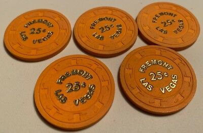 Fremont $.25 LOT OF 5 Casino Chips Las Vegas Nevada 2.99 Shipping