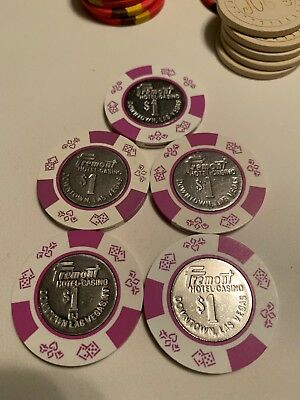 Fremont Hotel $1 LOT OF 5 Casino Chips Las Vegas Nevada 2.99 Shipping
