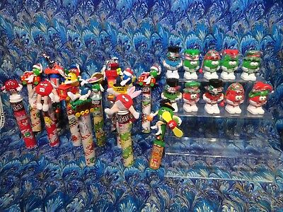 Lot of 25 Various Collectible Mini M&M Candy Dispensers and  Figurines UNOPENED