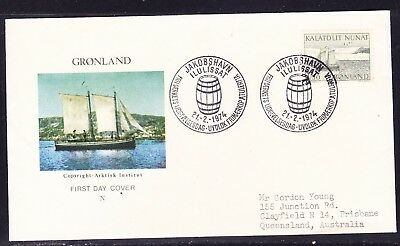 Greenland 1974 Mail Transport  Sailing Longboat First Day Cover to  Australia