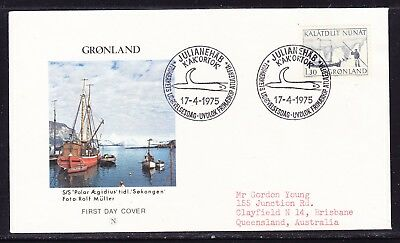 Greenland 1975 Mail Transport - Schooner First Day Cover to  Australia