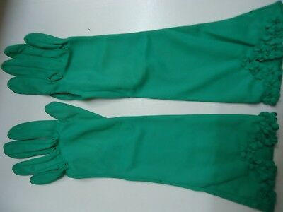 Vintage Ladies Gloves.  Green Nylon. size 6 1/2. with top trim.  32 cm long