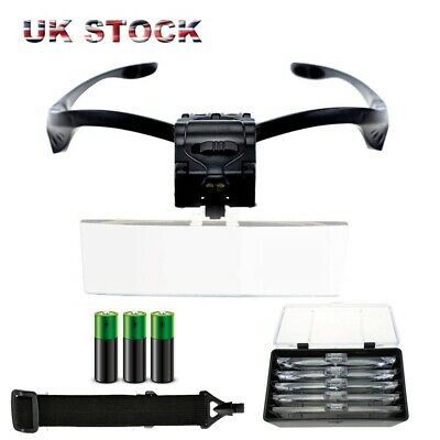Led Head Magnifying Glasses Headset with Light Hands Free Headband Magnifier