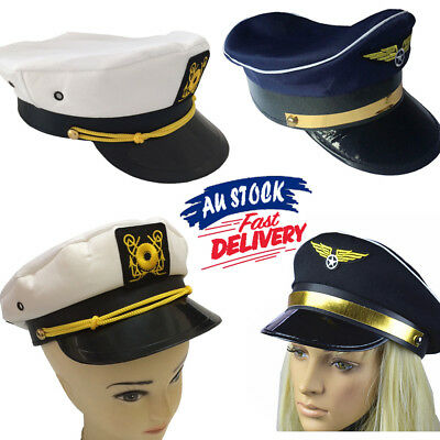 Captain Skipper Hat Sailor Ship Party pilots Air Cap Costume force Adult