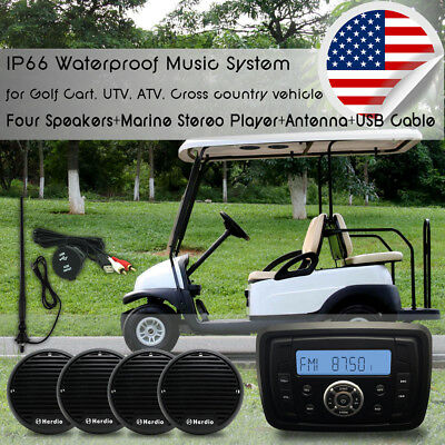 "Marine Bluetooth Radio  UTV  ATV Golf Cart +3"" Boat Speakers+Marine Aerial"