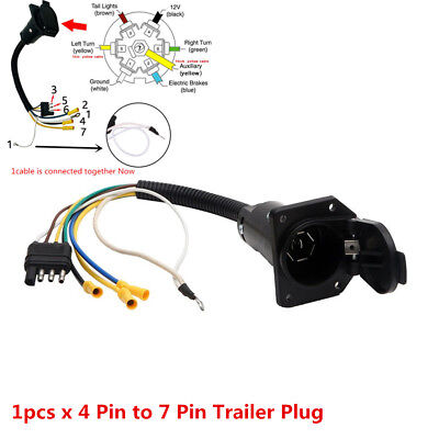 4 flat to 7 way rv trailer light plug wire harness converter adapter for truck Trailer Light Wire Colors