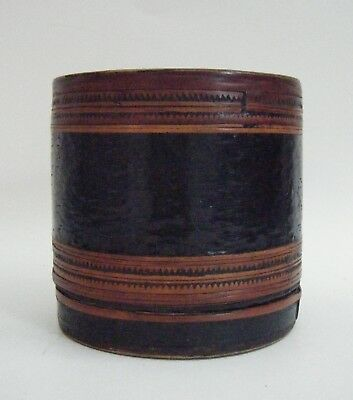 Old Round Burmese Lacquer Betal Nut Sectioned Basketry Box