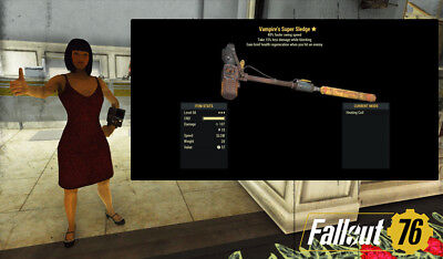 Fallout 76 (PC) 3🌟🌟🌟 Vampire's Super Sledge 40% Faster Swing Speed PVE