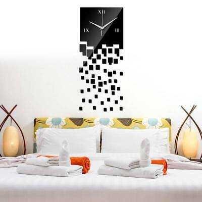 DIY 3D Large Number Mirror Wall Clock Sticker for Home Decor Office Kids Room