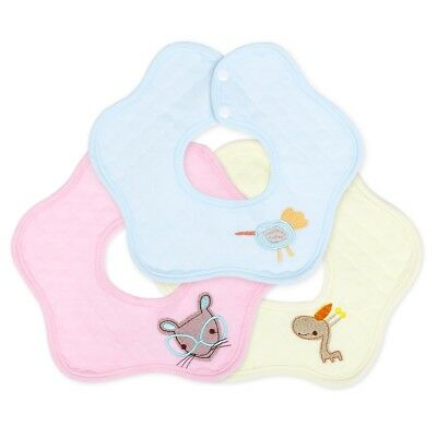 Cartoon Embroidered Snap Button Cotton Drool Absorbent Flower Baby Bib 3 Colors