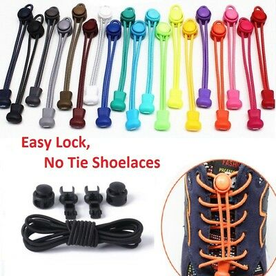 No Tie Shoe Laces Elastic Easy Lock Lace System Sports Shoelaces Runners Trainer