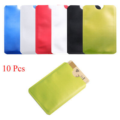 10pcs RFID Secure Protector Blocking ID Credit Card Sleeve Holder Case Skin New