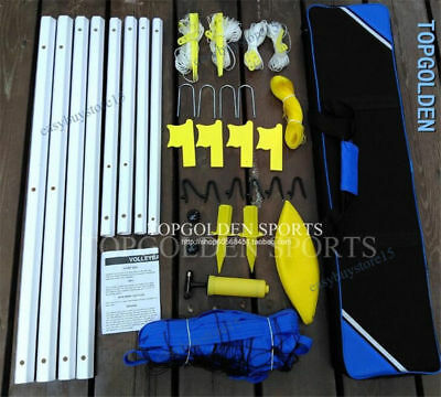 Volleyball Badminton Net Kit- Poles, Ball, Anchors, Pump, Rope, Carrying Case
