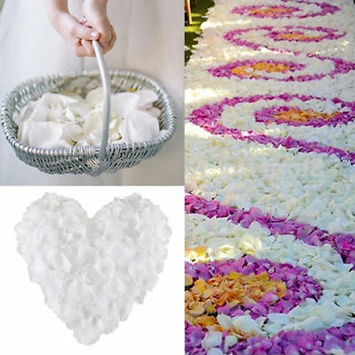 1000Pcs White Silk Flower Rose Petals Wedding Party Table Decoration Venue Decor