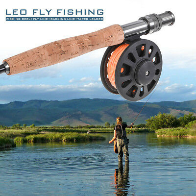Fly Fishing Reel Set 5/6 7/8 WT with Backing Line+ WF-5F Fly Line+ Taper Leader