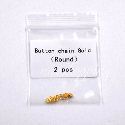 Dental Orthodontic Golden Round Mesh Base Lingual Buttons Traction Chain 1 Bag
