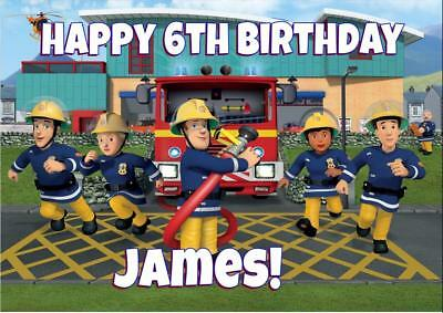 XL FIREMAN SAM A4 size PERSONALISED BIRTHDAY CARD - ANY NAME AGE RELATION