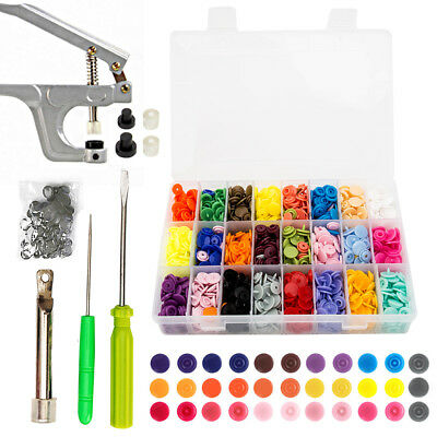 DIY Craft KAM Snaps 375 Set T5 Snap Starter Plastic Poppers Fasteners + Pliers