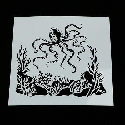 Painting Stencil octopus Shape Patterns Drawing Airbrush Kids Gift Craf tX