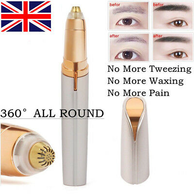 Women's Painless Brows Trimmer Electric Facial Hair Eyebrow Remover LED Light