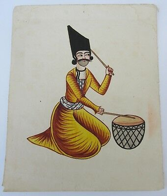 Antique Persian Qajar Islamic Watercolour Painting 19Th Century Drummer