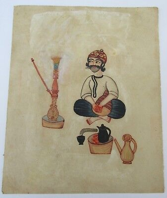 Antique Persian Qajar Islamic Watercolour Painting 19Th Century Entertainer