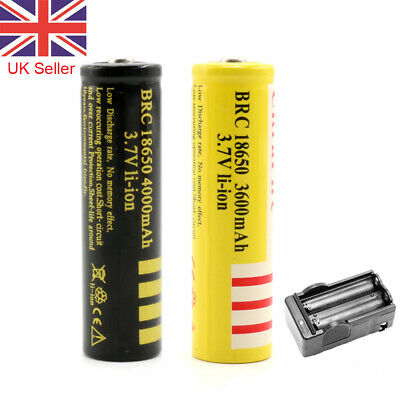 18650 Battery 3.7V 4000 3600mAh BRC Rechargeable Charger Li-ion Lithium Cells