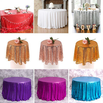 Round Sequin Rose Gold Table Cloth Cover Wedding Event Banquet Party Xmas Decor
