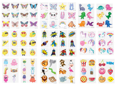 12 Kids Boys Girls Temporary Tattoos Party Bags - 33 Assorted Designs, Unicorn