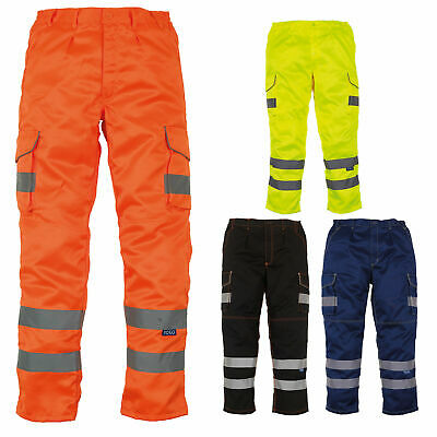 Hi Vis High Viz EN ISO20471 Safety Workwear Knee Pad Pocket Cargo Trousers 28-48