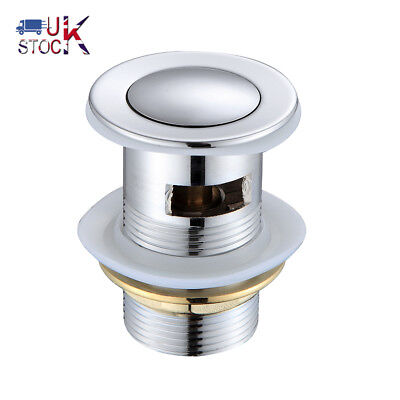 CHEAP ! Slotted Chrome Click Clack Basin Waste Brass Sink Pop Up Plug Push