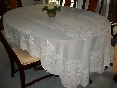 """Large Tablecloth ~  White with Floral Design ~ 100"""" x 62"""""""