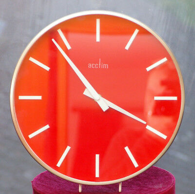 Striking 30cm ACCTIM wall clock brushed metal surround and red/white face