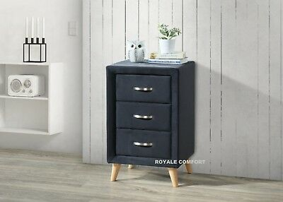 Isla Fabric 3 Drawer Bedside Table Upholstered Light Grey Black Velvet Cabinet