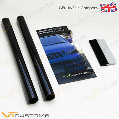 2 Lot 30 x 75cm Medium Smoke Black Tint Film Headlight Tail light Car + SQUEEGEE
