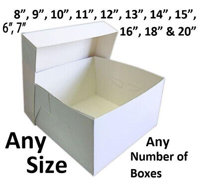 "White Cake Boxes for Wedding Birthday Cakes 8,9,10,11,12,13,14,15,16,18,20"" Box"