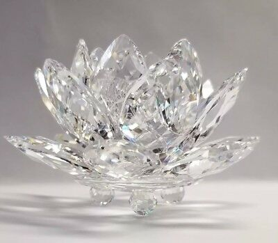 Swarovski Crystal Water Lily Lotus Flower Small Taper Candle Holder - Excellent!